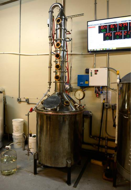 Rick Egan  |  The Salt Lake Tribune  The still at Outlaw Distillery in Midvale, where owner and head distiller Kirk Sedgwick produces spiced rum from fancy molasses and his own blend of spices. Wednesday, March 23, 2016.