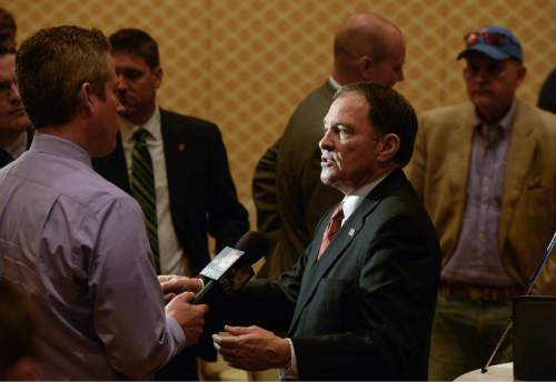 Francisco Kjolseth | The Salt Lake Tribune Governor Gary Herbert speaks with the media following his debate with Jonathan Johnson at the Little America Hotel in Salt Lake City on Monday, April 11, 2016.