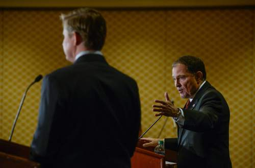 Francisco Kjolseth | The Salt Lake Tribune The first full Republican gubernatorial debate between Governor Gary Herbert, right, and Jonathan Johnson takes place at the Little America Hotel in Salt Lake City on Monday, April 11, 2016.
