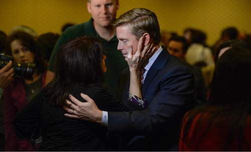 Francisco Kjolseth | The Salt Lake Tribune Republican candidate for governor Jonathan Johnson is embraced by friend and supporter Suellen Curtis following a debate with Governor Gary Herbert on Monday, April 11, 2016.
