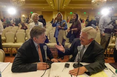 Francisco Kjolseth | The Salt Lake Tribune Republican gubernatorial candidate Jonathan Johnson, left, is interviewed by radio host Doug Wright after finishing his debate with Governor Gary Herbert at the Little America Hotel in Salt Lake City on Monday, April 11, 2016.