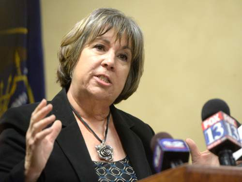Rick Egan  |  The Salt Lake Tribune  Donna Kelley, Utah Prosecution Council and an original developer of TIVI protocol answers questions from the press, during a news conference in West Valley, Thursday, April 14, 2016.