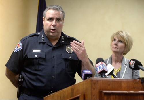 Rick Egan  |  The Salt Lake Tribune  BYU researcher and forensic nurse, Julie Valentine,  listens as  West Valley Police Chief Lee Russo talks about the way the West Valley City Police Department investigates sexual assault cases, during a press conference in West Valley, Thursday, April 14, 2016.