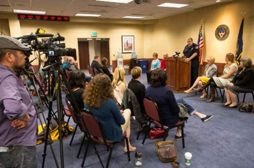 Rick Egan  |  The Salt Lake Tribune  West Valley Police Chief Lee Russo talks about the way the West Valley City Police Department investigates sexual assault cases, during a press conference in West Valley, Thursday, April 14, 2016.