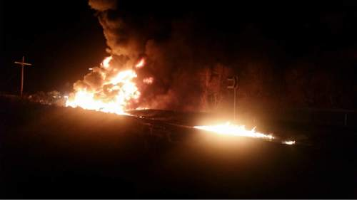 An early Thursday morning fire destroyed a semi-trailer full of paper products in U.S. 6 in Spanish Fork Canyon. (UHP photo)