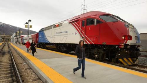 Rick Egan  | The Salt Lake Tribune   Passengers exit the FrontRunner at Farmington Station, Monday, March 10, 2014.