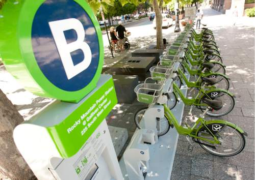 Steve Griffin | Tribune file photo Mobility kiosks, that would offer short-term rentals of bikes, scooters, even electric cars -- similar to Salt Lake City's GREENbike program, is one of the ideas being considered by long-range transportation planners.