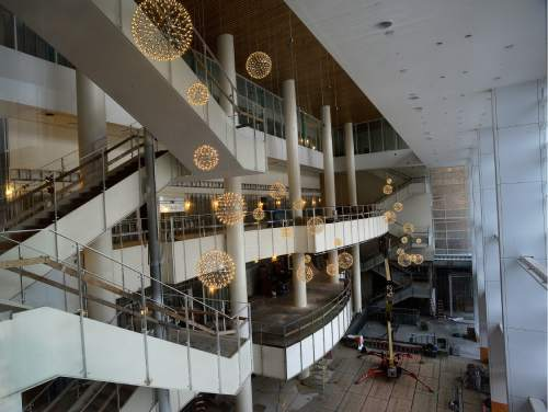 Scott Sommerdorf   |  The Salt Lake Tribune   A view of the six-story open Grand Lobby with three levels of balconies seen at left during a tour of the construction on The George S. and Dolores Doré Eccles Theater in downtown Salt Lake City on Thursday, April 14, 2016.