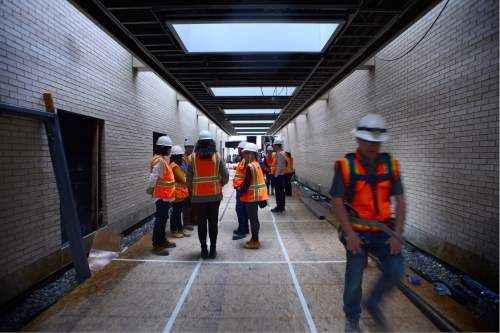 Scott Sommerdorf   |  The Salt Lake Tribune   The unfinished Galleria area seen during a tour of the construction on The George S. and Dolores Doré Eccles Theater in downtown Salt Lake City on Thursday, April 14, 2016.