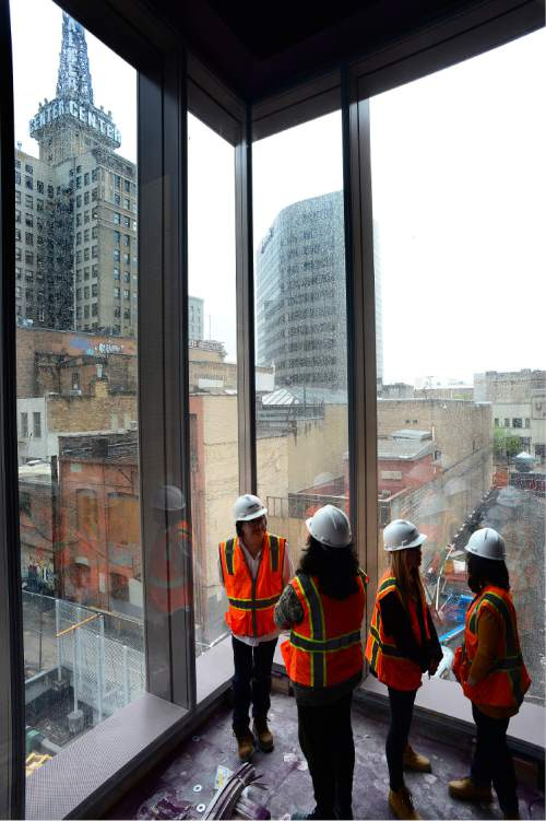 Scott Sommerdorf   |  The Salt Lake Tribune   The view looking south east from inside the Black Box theater as seen during a tour of the construction on The George S. and Dolores Doré Eccles Theater in downtown Salt Lake City on Thursday, April 14, 2016.