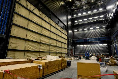 Scott Sommerdorf   |  The Salt Lake Tribune   The view backstage of the main 2,500-seat, state-of-the-art Delta Performance Hall during a tour of the construction on The George S. and Dolores Doré Eccles Theater in downtown Salt Lake City on Thursday, April 14, 2016.
