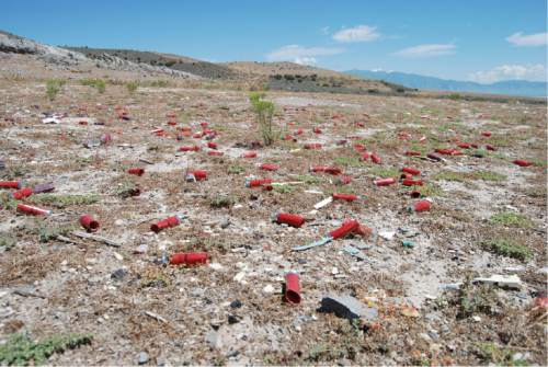 Brian Maffly  |  The Salt Lake Tribune   Shotgun casings litter a shooting area at Utah's Lake Mountains, where the BLM has began crafting a new plan to manage target shooting.