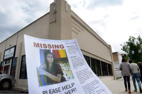 Scott Sommerdorf   |  The Salt Lake Tribune Volunteers searched for Elizabeth Elena Laguna-Salgado, 26, who was last seen walking home April 16 from the Nomen Global Language School at 384 W. Center St. in Provo. Saturday, April 25, 2015