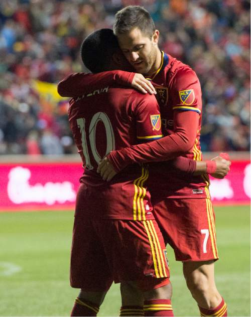 Rick Egan  |  The Salt Lake Tribune  Real Salt Lake forward Joao Plata (10) congratulates forward Juan Martinez (7) after scoring the only goal of the night, in MLS soccer action, Real Salt Lake vs Vancouver Whitecaps at Rio Tinto Stadium in Sandy, Saturday, April 16, 2016.