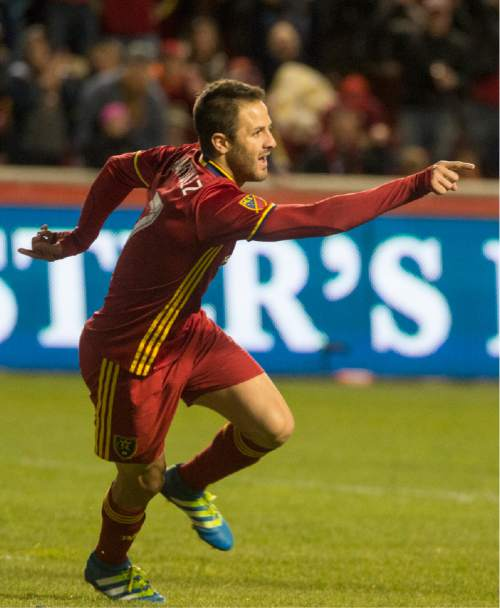 Rick Egan  |  The Salt Lake Tribune  Real Salt Lake forward Juan Martinez (7) reacts after scoring the only goal of the night, in MLS soccer action, Real Salt Lake vs Vancouver Whitecaps at Rio Tinto Stadium in Sandy, Saturday, April 16, 2016.