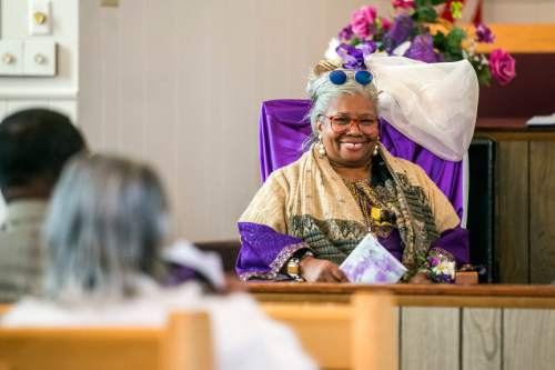 Chris Detrick     The Salt Lake Tribune Rev. Nurjhan Govan smiles as she listens during a pastor appreciation service at Trinity African Methodist Episcopal Church Sunday April 17, 2016. The Rev. Nurjhan Govan has ministered tirelessly for more than a dozen years to members of the Trinity African Methodist Episcopal (AME) Church -- longer than any other pastor at the Salt Lake City landmark.