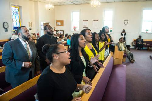 Chris Detrick     The Salt Lake Tribune Members of the Calvary Baptist Church choir sing during a pastor appreciation service at Trinity African Methodist Episcopal Church Sunday April 17, 2016. The Rev. Nurjhan Govan has ministered tirelessly for more than a dozen years to members of the Trinity African Methodist Episcopal (AME) Church -- longer than any other pastor at the Salt Lake City landmark.