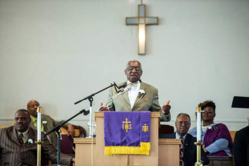Chris Detrick     The Salt Lake Tribune Calvary Baptist Church Rev. Francis A. Davis preaches during a pastor appreciation service at Trinity African Methodist Episcopal Church Sunday April 17, 2016. The Rev. Nurjhan Govan has ministered tirelessly for more than a dozen years to members of the Trinity African Methodist Episcopal (AME) Church -- longer than any other pastor at the Salt Lake City landmark.