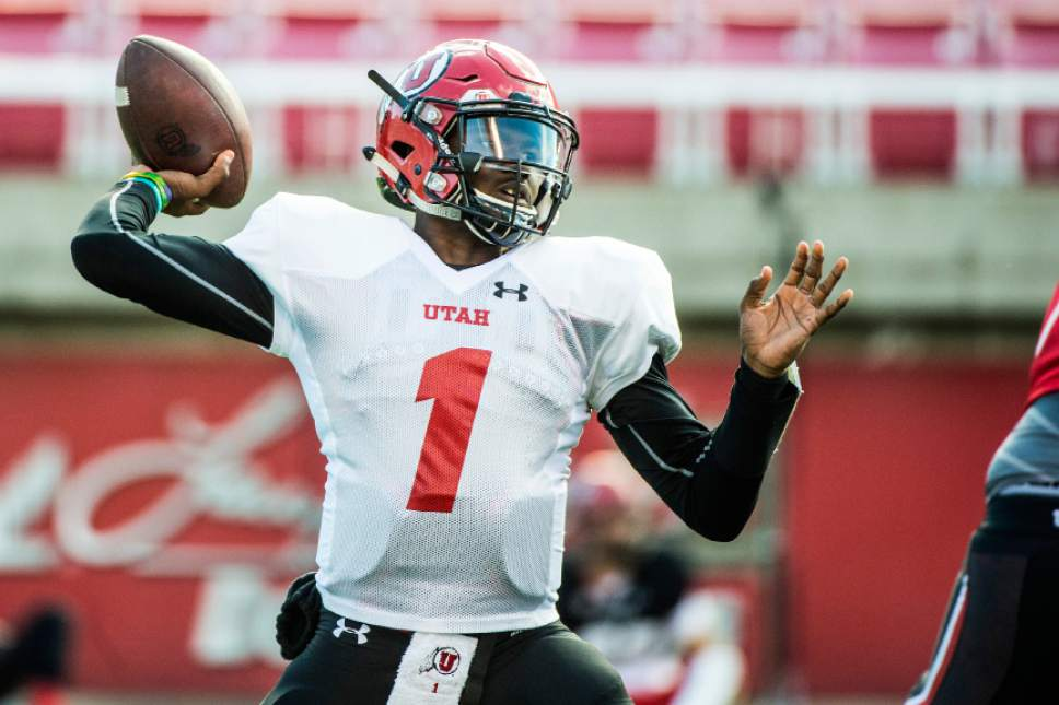 Chris Detrick  |  The Salt Lake Tribune Utah Utes quarterback Tyler Huntley (1) throws the ball during the spring scrimmage at Rice-Eccles Stadium Saturday April 9, 2016.