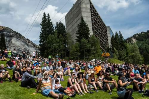 Chris Detrick  |  The Salt Lake Tribune Spectators watch the 2nd Annual Beard & Moustache Competition during the 43rd Annual Oktoberfest Celebration at Snowbird Ski & Summer Resort Saturday August 29, 2015.