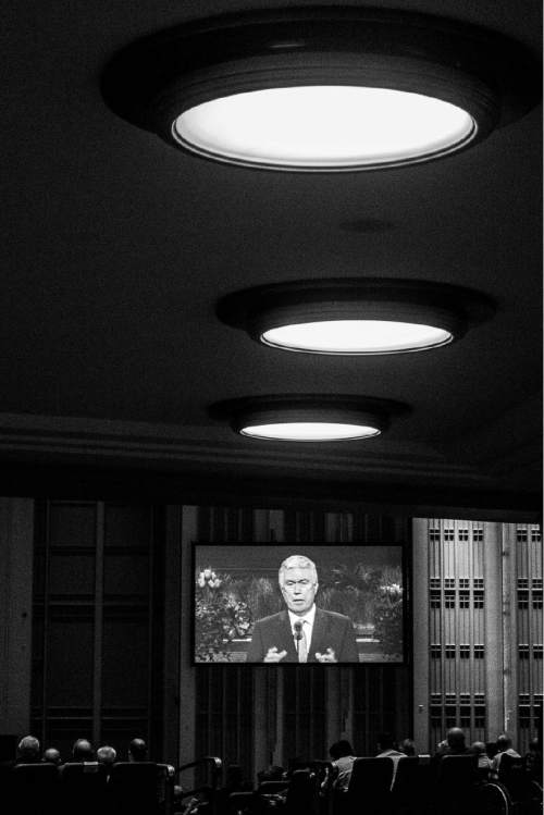 Trent Nelson  |  The Salt Lake Tribune President Dieter F. Uchtdorf speaks at the priesthood session of the 186th Annual General Conference of The Church of Jesus Christ of Latter-day Saints in Salt Lake City, Saturday April 2, 2016.