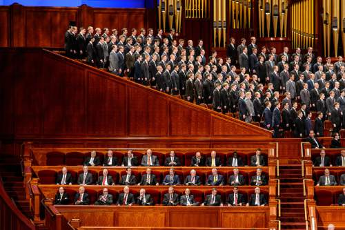 Trent Nelson  |  The Salt Lake Tribune A choir performs at the priesthood session of the 186th Annual General Conference of The Church of Jesus Christ of Latter-day Saints in Salt Lake City, Saturday April 2, 2016.