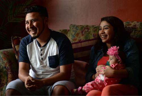 Steve Griffin  |  The Salt Lake Tribune   Granger High School soccer player Carlos Tavares, his girlfriend, Marilin Marin, and their daughter Abigail, who are currently living with Marilin's  parents in West Valley City, talk about their young life together Wednesday, April 6, 2016.