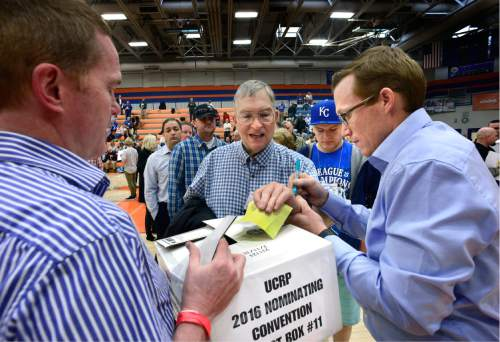 "Scott Sommerdorf   |  The Salt Lake Tribune   Delegates to the Utah County Republican Convention chose vote in the District 14 race in the ""Thunderdome"" basketball arena, at Timpview High in Provo, Saturday, April 16, 2016."