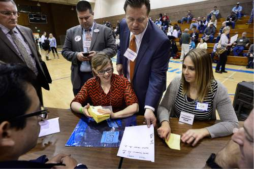 Scott Sommerdorf   |  The Salt Lake Tribune   Ballot counters tabulate the vote in the District 7 race in which Senator Deidre Henderson, R-Provo, easily won her race 240 votes to 9 over Nathan Hepler at Timpview High in Provo, Saturday, April 16, 2016.