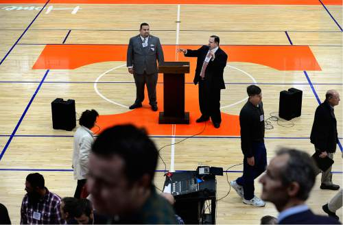 "Scott Sommerdorf   |  The Salt Lake Tribune   Delegates to the Utah County Republican Convention are directed on how to submit their ballot in the second vote in the District 14 election, from the floor of the ""Thunderdome"" basketball arena at Timpview High in Provo, Saturday, April 16, 2016."
