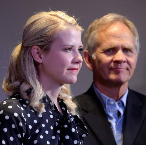 Al Hartmann  |  The Salt Lake Tribune Elizabeth Smart and her father, Ed Smart, attend a news conference in Sandy on Monday, April 18, 2016, for Libertad Salgado. Salgado's daughter Elizabeth Laguna-Salgado disappeared one year ago.