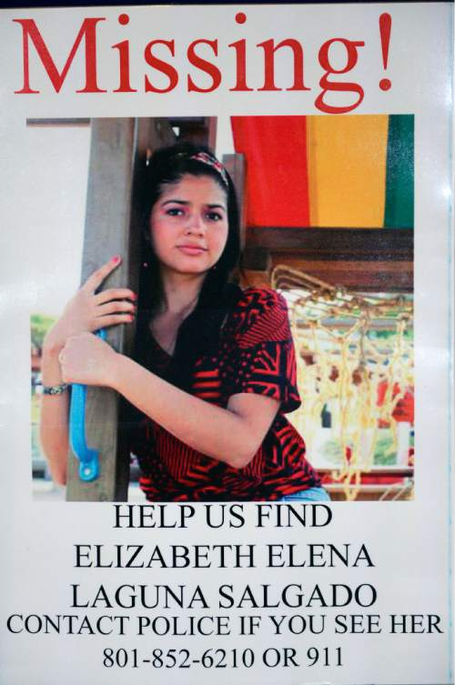 Al Hartmann  |  The Salt Lake Tribune Elizabeth Laguna-Salgado was reported missing one year ago.  Rosemberg Salgado, (her Uncle) and Ed and Elizabeth Smart pleaded Monday, April 18, 2016, to keep the case in the news and for anyone with information to contact the family or Provo Police.