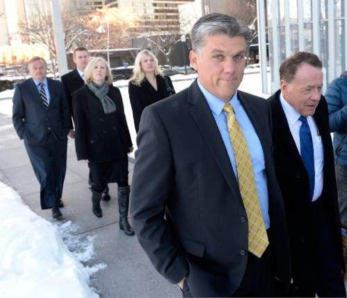 Al Hartmann  |  The Salt Lake Tribune San Juan County Commissioner Phil Lyman walks to sentencing hearing in federal court in Salt Lake City on Friday, Dec. 18. He was given 10 days in jail.