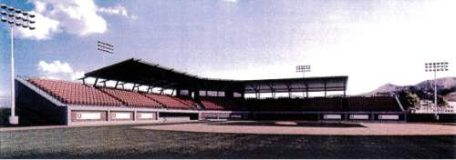 Courtesy     University of Utah  A Utah athletics department rendering shows a 2000-seat baseball stadium that the university hopes to build at the site where the team's current practice field lies. The Utes hope a stadium close to the university campus will help revitalize the program.