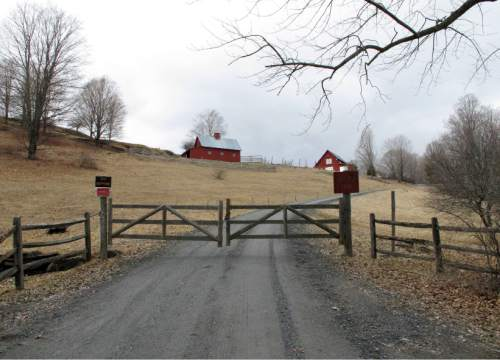 This Tuesday, March 29, 2016 photo shows a farm in Sharon, Vt.  The farm was bought by the NewVistas Foundation of Utah, which is planning a large-scale development based on the writings of Mormonism founder Joseph Smith, who was born in Sharon. The foundation bought about 900 acres in four towns near Smith's birthplace and plans to buy more. (AP Photo/Lisa Rathke)
