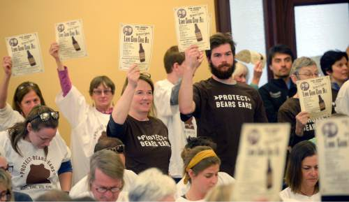 Al Hartmann  |  The Salt Lake Tribune Members of the conservation community protest before the start of meeting of the Commission for the Stewardship of Public Lands at the Utah state Capitol Wed. April 20 where a resolution condeming the Antiquities Act was expected to pass.  Also in contention as part of the Antiquities Act is a proposal before President Obama setting aside hundreds of thousands of acres in San Juan County for a Bear's Ears National Monument.   Most in the audience were for the Bear's Ears National Monument.