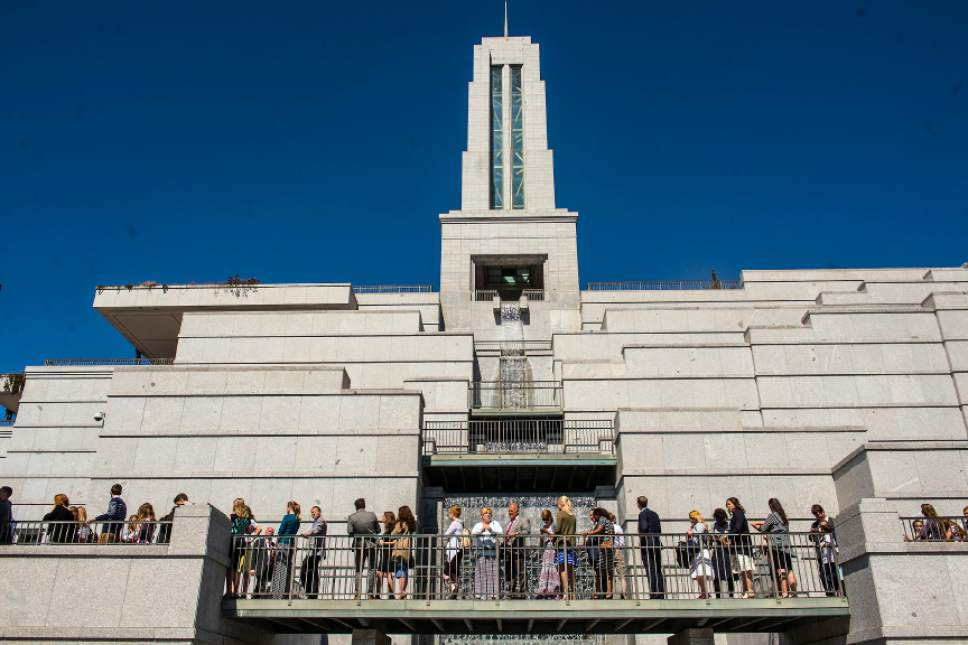 Chris Detrick  |  The Salt Lake Tribune The scene outside of the Conference Center before the afternoon session of the 186th LDS General Conference at the Conference Center in Salt Lake City Saturday April 2, 2016.