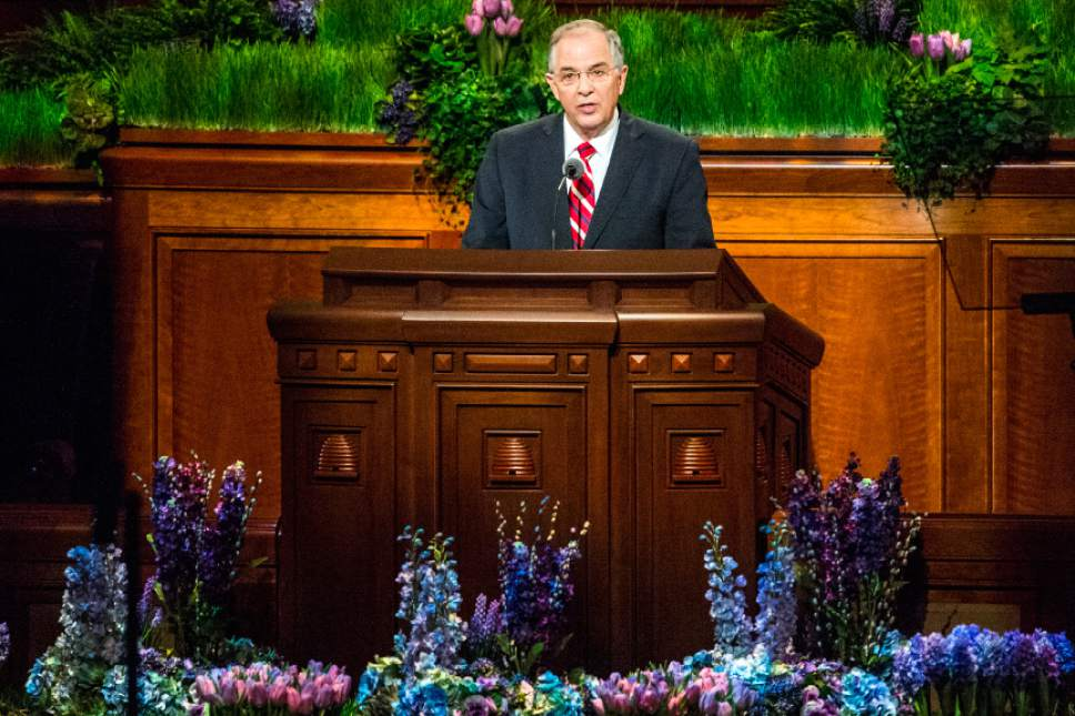 Chris Detrick  |  The Salt Lake Tribune Neil L. Andersen, Quorum of the Twelve Apostles, speaks during the afternoon session of the 186th LDS General Conference at the Conference Center in Salt Lake City Saturday April 2, 2016.