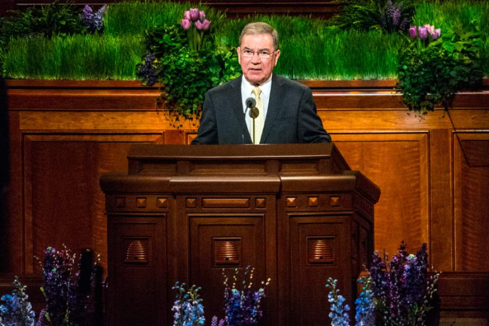 Chris Detrick  |  The Salt Lake Tribune Jairo Mazzagardi, of the Seventy, speaks during the afternoon session of the 186th LDS General Conference at the Conference Center in Salt Lake City Saturday April 2, 2016.