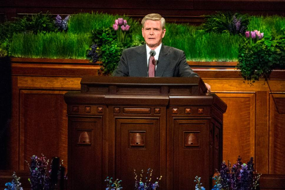 Chris Detrick  |  The Salt Lake Tribune Mervyn B. Arnold, of the Seventy, speaks during the afternoon session of the 186th LDS General Conference at the Conference Center in Salt Lake City Saturday April 2, 2016.