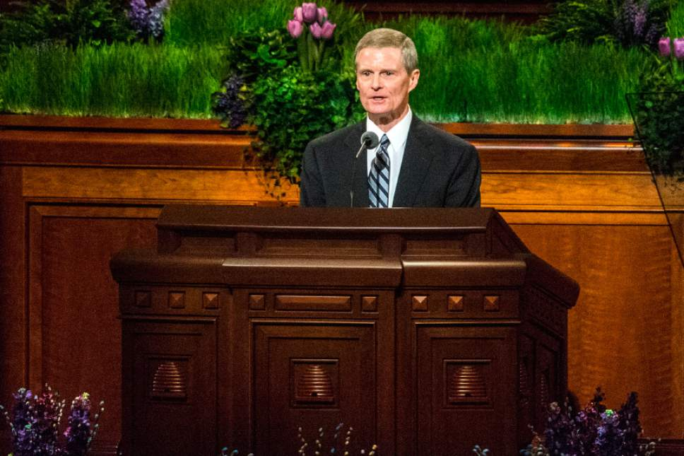 Chris Detrick  |  The Salt Lake Tribune David A. Bednar, Quorum of the Twelve Apostles, speaks during the afternoon session of the 186th LDS General Conference at the Conference Center in Salt Lake City Saturday April 2, 2016.