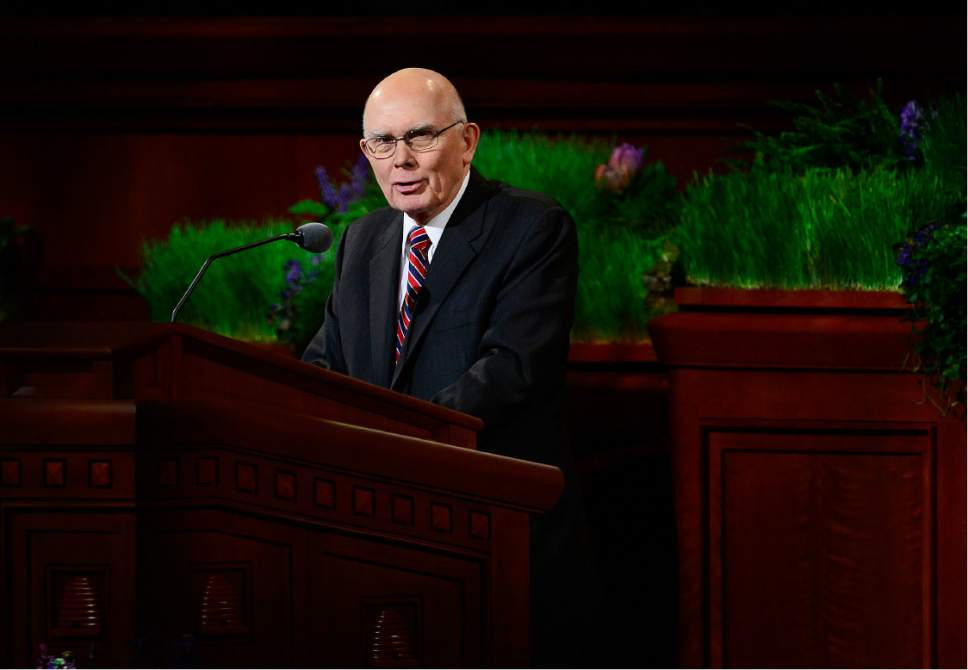"Scott Sommerdorf   |  The Salt Lake Tribune   Elder Dallin H. Oaks delivers his talk ""Opposition in All Things"" at the afternoon session of the 186th annual General Conference of the LDS Church, Sunday, April 3, 2016."