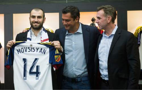Steve Griffin  |  The Salt Lake Tribune   Yura Movsisyan smiles as he is introduced by Real Salt Lake as the 28-year-old striker returns to his former club after six seasons overseas in one of the most notable signings in club history at the Real Salt Lake store in Salt Lake City, Tuesday, January 19, 2016.