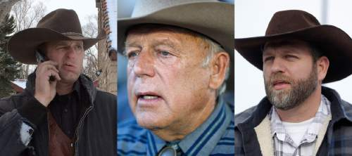 FILE - This is a combo of file photos showing the Bundy family from left to right, Ryan Bundy, Cliven Bundy and Ammon Bundy. Ryan and Ammon Bundy are part of a group of protesters who are in a standoff at the Malheur National Wildlife Refuge in Burns, Ore. They are also the sons of rancher Cliven Bundy, who was involved in a 2014 Nevada standoff with the government over grazing rights. (AP Photos/File)