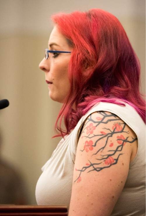 Rick Egan  |  The Salt Lake Tribune  Jennifer Kasprzak, stepmom of Annie Kasparzak speaks in court, during the sentencing of Darwin Christopher Bashaw,  for the first-degree felony murder of 15-year-old Anne Kasprzak,at the Matheson Courthouse, Monday, April 25, 2016.