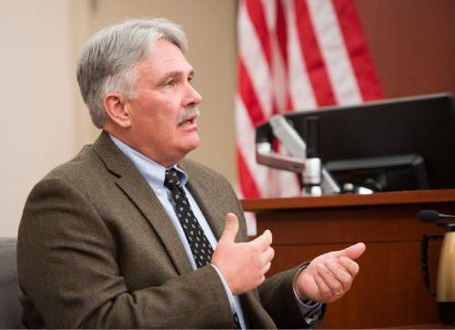 Rick Egan     The Salt Lake Tribune  Dr. Matt Davies answers questions during the sentencing of Darwin Christopher Bashaw, who pleaded guilty in February to first-degree felony murder for the 2012 death of 15-year-old Anne Kasprzak, when he was 14 years old. Monday, April 25