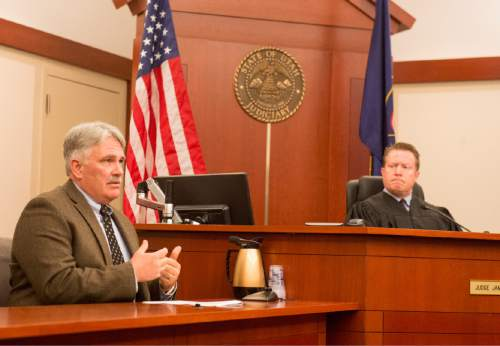Rick Egan  |  The Salt Lake Tribune  Judge James T. Blanch listens as Dr. Matt Davies answers questions during the sentencing of Darwin Christopher Bashaw, who pleaded guilty in February to first-degree felony murder for the 2012 death of 15-year-old Anne Kasprzak, when he was 14 years old. Monday, April 25