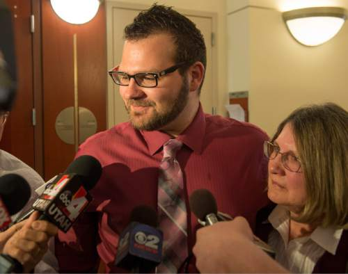 Rick Egan     The Salt Lake Tribune Dennis Kasprzak father of Annie Kasparzak stands with his mother karen, as he answers questions from the media, after the the sentencing of Darwin Christopher Bashaw, for the first-degree felony murder of 15-year-old Anne Kasprzak,at the Matheson Courthouse, Monday, April 25, 2016.