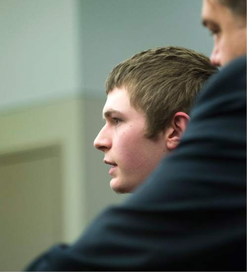 Rick Egan     The Salt Lake Tribune  Darwin Christopher Bashaw stands by  defense attorney Chris Brown, as he makes a statement at his sentencing, at the Matheson courthouse, Monday, April 25