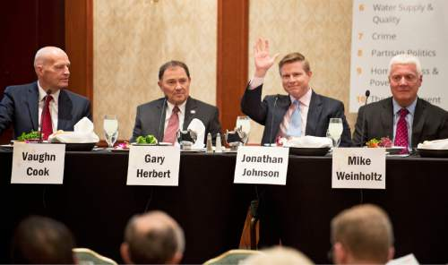 Lennie Mahler  |  The Salt Lake Tribune  Utah gubernatorial candidates Vaugh Cook, Gary Herbert, Jonathan Johnson and Mike Weinholtz are introduced before they speak on top issues at a Utah Foundation luncheon Thursday, March 24, 2016, at the Marriott hotel in downtown Salt Lake City.